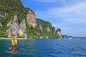 stock photo of james bond island  - Yellow floats near Khao Phing Kan islands in Thailand known as James Bond Island - JPG