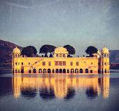 Vintage retro hipster style travel image of Rajasthan landmark - Jal Mahal (Water Palace) on Man Sag