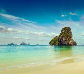 Vintage retro hipster style travel image of Pranang beach. Krabi, Thailand