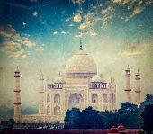 Vintage retro hipster style travel image of Taj Mahal on sunrise sunset, Indian Symbol - India trave