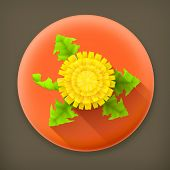 Yellow Dandelion, long shadow vector icon
