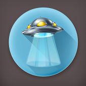 UFO, long shadow vector icon