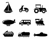 stock photo of passenger train  - Collection of transport icons depicting a boat - JPG