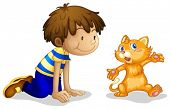 Illustration of a young boy and his adorable kitten on a white background