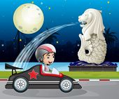 Illustration of a car racer passing the street with the statue of Merlion