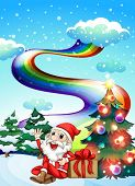 Illustration of a smiling Santa with a rainbow in the sky