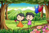 Illustration of a couple dating at the jungle