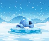 image of igloo  - Illustration of an iceberg with an igloo - JPG
