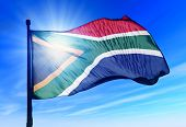 image of nelson mandela  - South Africa flag waving on the wind - JPG