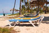 Loungers On Caribbean Beach