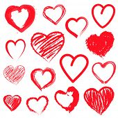Vector set of Hand drawn hearts. Red color
