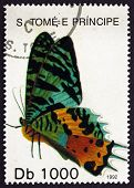 Postage Stamp Sao Tome And Principe 1992 Madagascan Sunset Moth,