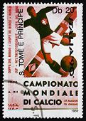 Postage Stamp Sao Tome And Principe 1989 Soccer Player Kicking B