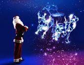 Santa claus looking at magic image of sledge with deer
