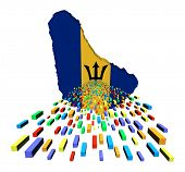 Barbados map flag with containers illustration