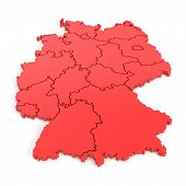 3D Map Of Germany In Red