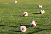 Europa League Balls On The Field During The Training Of Paok In Thessaloniki, Greece.