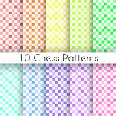 Chess plaid vector seamless patterns. Endless texture