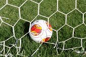 Europa League Ball In Net During Paok Training In Thessaloniki, Greece.