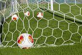 Europa League Balls In Net During Paok Training In Thessaloniki, Greece.