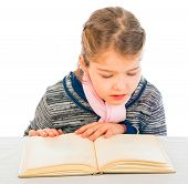 Adorable Young Girl Reading