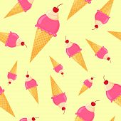 Vector Colorful Cartoon Waffle Ice Cream With Cherry Seamless Pattern