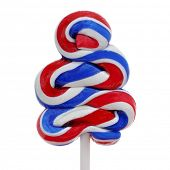 closeup of a lollipop with the colors of the flag of the United States on a white background