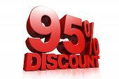 3D Render Red Text 95 Percent Discount
