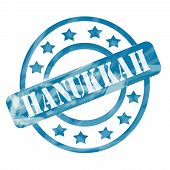 Blue Weathered Hanukkah Stamp Circles And Stars