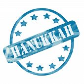 Blue Weathered Hanukkah Stamp Circle And Stars