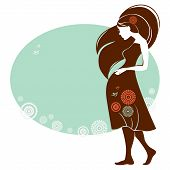 stock photo of fondling  - Design of card with silhouette of pregnant woman - JPG