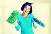 Happy cleaning woman portrait, isolated on white