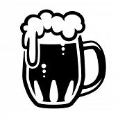 Beer mug, (Traditional glass mug filled with beer) Vector format EPS 8, CMYK.