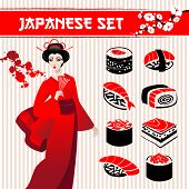 Japanese set: traditional food sushi, geisha