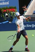 Six times Grand Slam champion Novak Djokovic practices for US Open 2014
