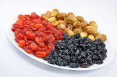 Dried Fruit on White Plate Isolated