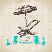 Vintage background with beach armchair and umbrella. Hand drawn