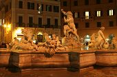 Rome - foutain in night - Piazza Navona
