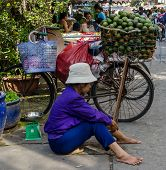 street vendor taking a rest