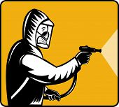 stock photo of pest control  - illustration of a Pest control exterminator spraying pesticide - JPG