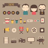 Set of movie design elements and cinema icons in flat style. Vector illustration.
