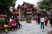 CHONGQING, CHINA - JAN 17: Unidentified tourists at Ciqikou Ancient Town on January  17, 2014 , Chon