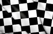 Checkered Flag Waving In The Evening