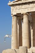 Acropolis Of Athens. Parthenon Columns And Crane. Greece