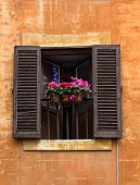 Opened Window With Flower Pots On Facade In Rome, Italy