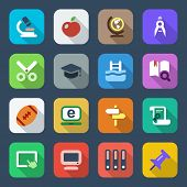 Flat School Icon set Colorful