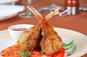 roasted lamb rib chops with vegetables