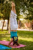 Headstand Yoga Pose Outdoors