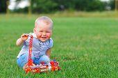 Little Boy Portrait With Toy Car