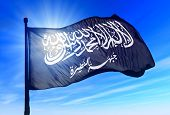 Al-nusra Front Flag Waving On The Wind